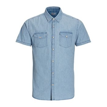 jack jones - denim short sleeved shirt - 30.00