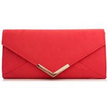 quiz red suede clutch