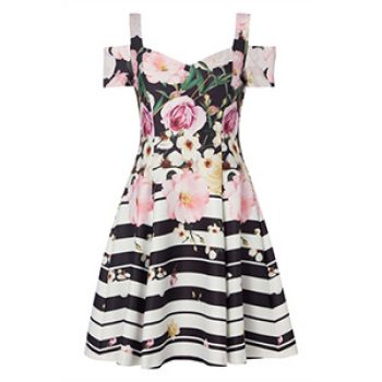 black floral stripe skater dress - roman - time to party