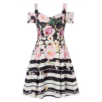 black floral stripe skater dress - roman - time to party