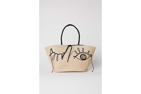 straw bag with eye on - h&m - casual summer