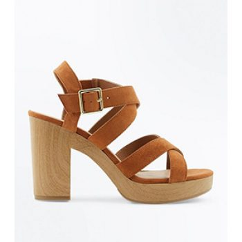 tan wooden sole sandal - new look - casual summer