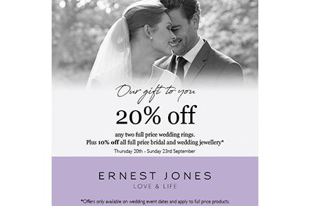 ernest jones 20% off bridal